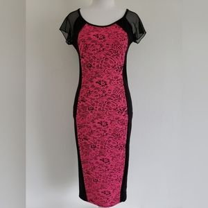 NEW! Vibe long black pink bodycon dress size M